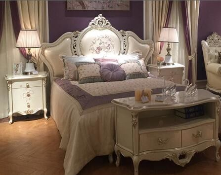 Apartment Flat Upholstered King Size Bed French Style Bedroom Furniture Sets