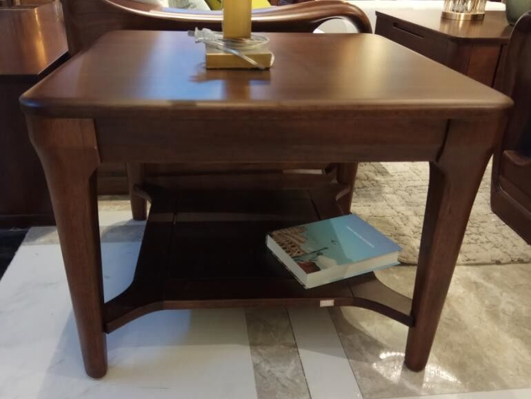 Uruguay Rose Full Solid Wood Square Side Table With Round Edge Design
