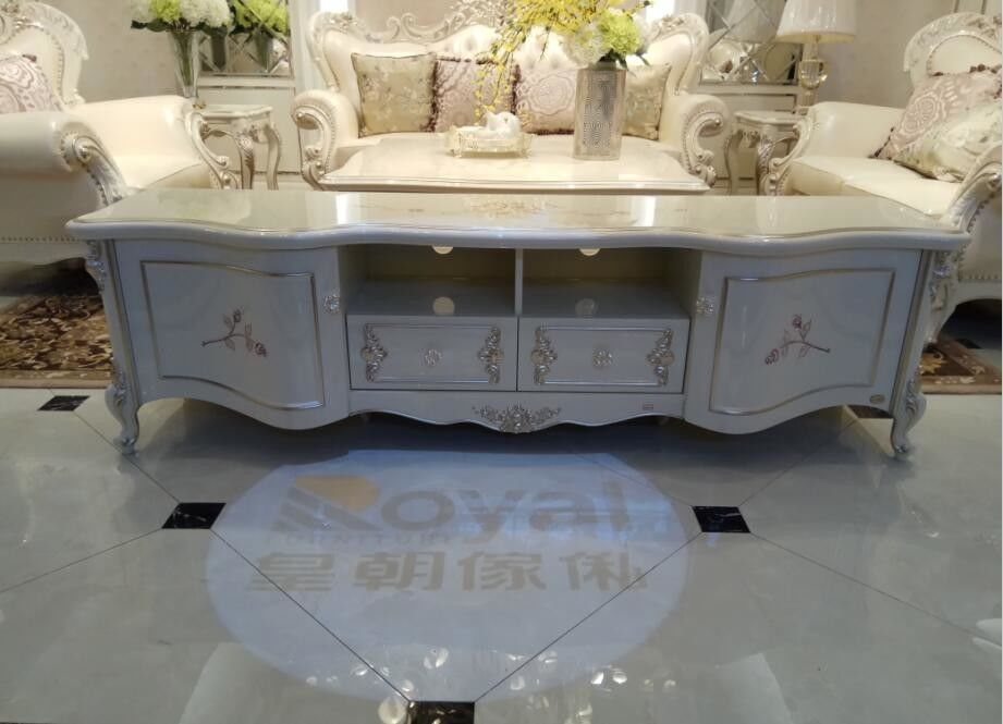 2000mm Classic French Furniture White TV Cabinet Beautiful Rose Carve Pattern