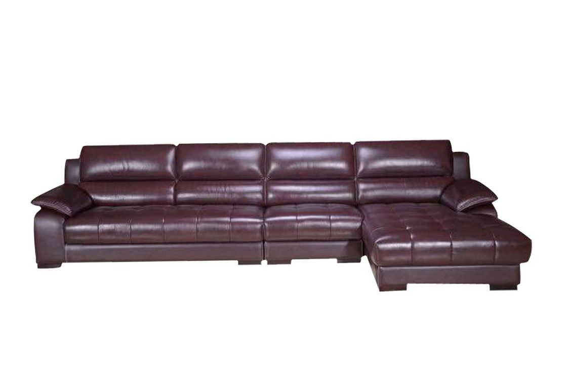 Solid Wood Frame Living Spaces Leather Sofa With Genuine Leather Cover